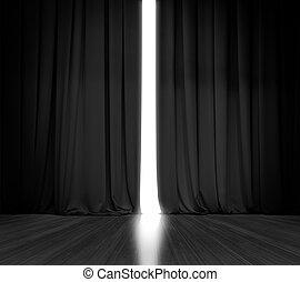 ライト, 明るい, の後ろ, 黒い背景, カーテン