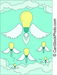 ライト, 明るい, 概念, 考え, 電球