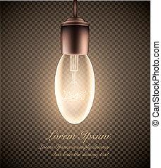 ライト, 明るい, 透明, 数字, 電球