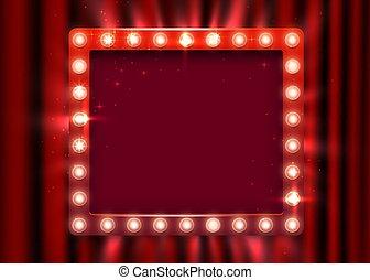 ライト, 時間, カーテン, スタイル, 型, ショー, concept., 印。, バックグラウンド。, 旗, レトロ