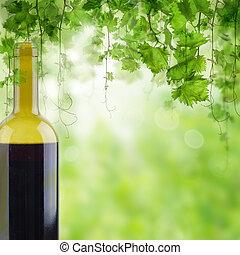ライト, 朝, ブドウ園, びん, テーブル, 赤ワイン