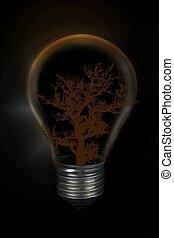 ライト, 木, バックグラウンド。, 黒, 前部, 電球, silulette