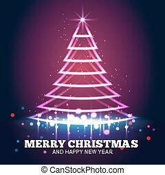ライト, 木, ベクトル, 背景, クリスマス, 赤