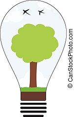 ライト, 木, 電球