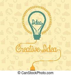 ライト, 概念, 考え, 電球, 創造的