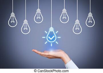 ライト, 概念, 解決, 電球, 考え