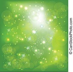 ライト, 泡, 緑の背景