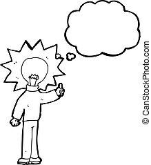 ライト, 漫画, 考え, 電球, 人
