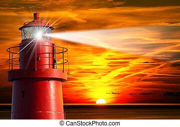 ライト, 灯台, 日没, 赤, 梁