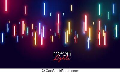 ライト, 白熱, ネオン, カラフルである, 背景