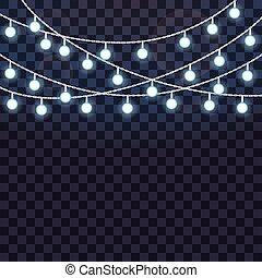 ライト, 白熱, ベクトル, バックグラウンド。, ひも, セット, イラスト, 透明, 重なり合う