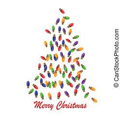 ライト, 白熱, 作られた, 木, クリスマス
