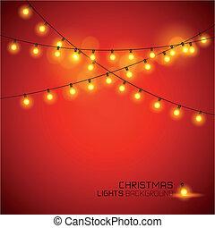 ライト, 白熱, 暖かい, クリスマス