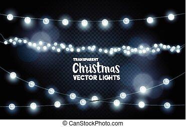 ライト, 白熱, 銀, コレクション, クリスマス