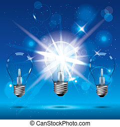 ライト, 白熱, 電球, 背景, blue.