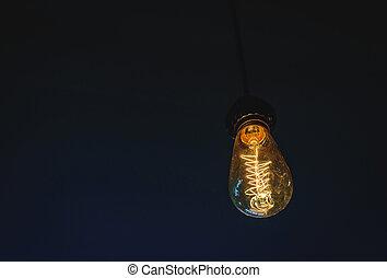 ライト, 白熱, 電球, dark.