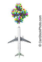 ライト, 空の旅, 概念, 飛行機, 飛ぶ, 上に, 風船, 上に, a, 背景, の, ∥, 空, 3d, render