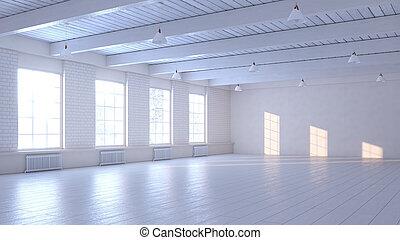 ライト, 空, windows., イラスト, 部屋, 3d