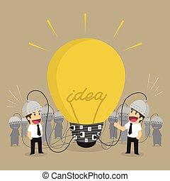 ライト, 考え, チームワーク, 電球, ビジネスマン, ひらめき