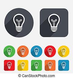ライト, 考え, 印, ランプ, icon., シンボル。