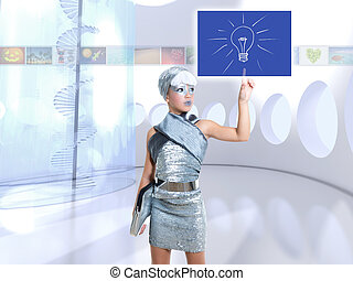ライト, 考え, 銀, 指, 感触, 電球, 女の子, 子供, 未来派