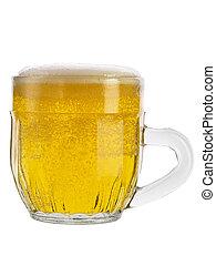 ライト, 背景, ビールガラス, 白