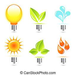 ライト, 自然, 電球, アイコン