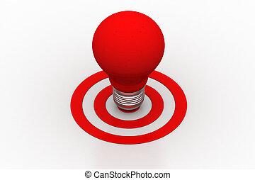 ライト, 赤, ターゲット, 電球, 印