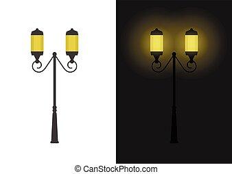 ライト, 通り, レトロ