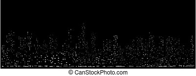 ライト, 都市の景観, cyberpunk, 夜, 未来派