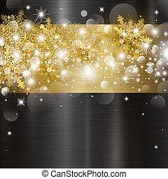 ライト, 金属, イラスト, クリスマス, bokeh, ベクトル, デザイン, 背景, 雪片