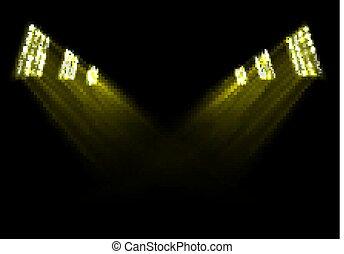 ライト, 金, 背景, ステージ