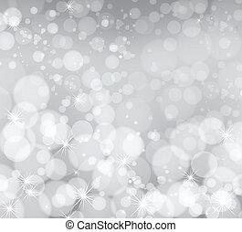 ライト, 銀, 抽象的, クリスマス