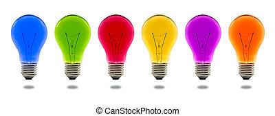 ライト, 隔離された, カラフルである, 電球