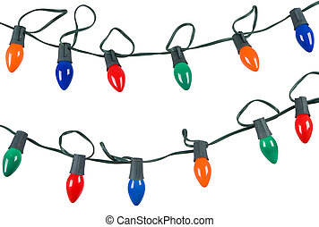 ライト, 隔離された, クリスマス, ひも