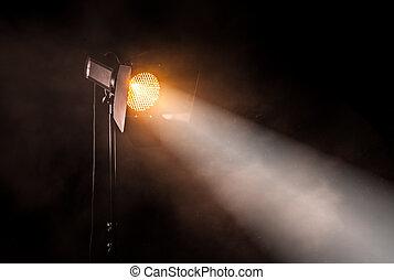 ライト, 黒, 劇場, バックグラウンド。, スポット