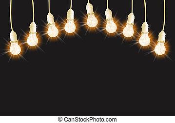 ライト, 黒, 電球, 型, セット, 白熱, 背景