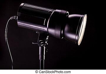 ライト, 黒, strobes, 背景, スタジオ