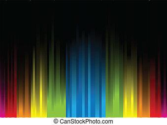 ライト, backgro, 黒, 虹色