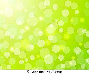 ライト, bokeh, 緑の背景