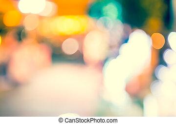 ライト, bokeh, 通り, 背景, 型
