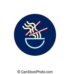 ライト, chinese の食物, 箸, ネオン