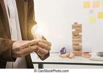 ライト, concept., 手, プロジェクト, 建設, ブレーンストーミング, 計画, 保有物, bulb., エンジニア
