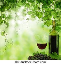 ライト, grapea, vineyard., ブドウ園, ガラスビン, 朝, 赤ワイン