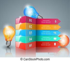 ライト, icon., infographic, 電球, design.