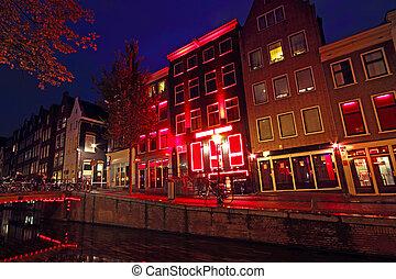 ライト, netherlands, 赤, 地区, アムステルダム