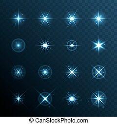 ライト, set., 効果, 星, 火炎信号, 白熱