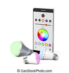 ライト, smartphone, リードした, 電球
