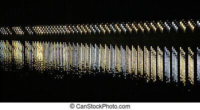 ライト, staggered, 川