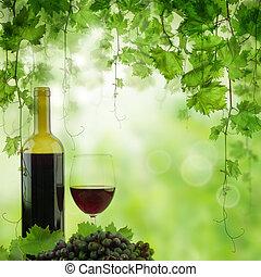 ライト, vineyard., ブドウ園, ガラスビン, テーブル, 朝, 赤ワイン